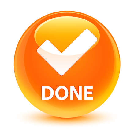 Done (validate icon) isolated on glassy orange round button abstract illustration
