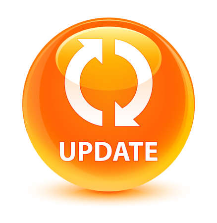 upgrade: Update isolated on glassy orange round button abstract illustration
