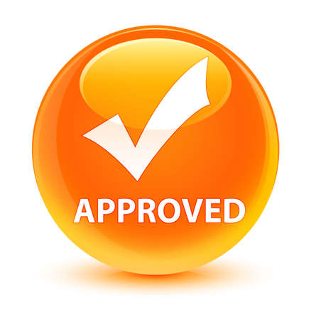 Approved (validate icon) isolated on glassy orange round button abstract illustration