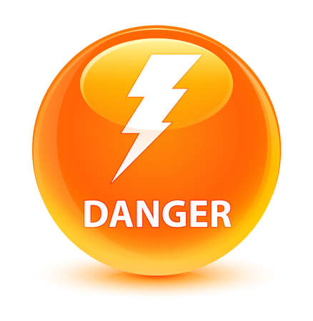 Danger (electricity icon) isolated on glassy orange round button abstract illustration