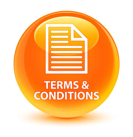 Terms and conditions (page icon) isolated on glassy orange round button abstract illustration