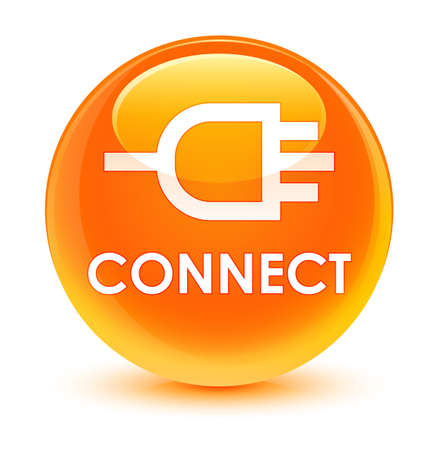 Connect isolated on glassy orange round button abstract illustration