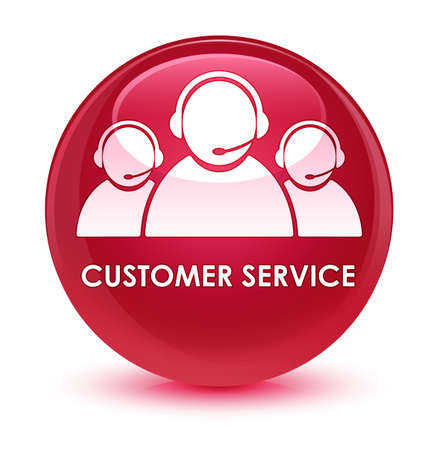 customer service representative: Customer service (team icon) isolated on glassy pink round button abstract illustration