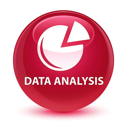 graphic: Data analysis (graph icon) isolated on glassy pink round button abstract illustration