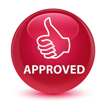 validated: Approved (thumbs up icon) isolated on glassy pink round button abstract illustration Stock Photo