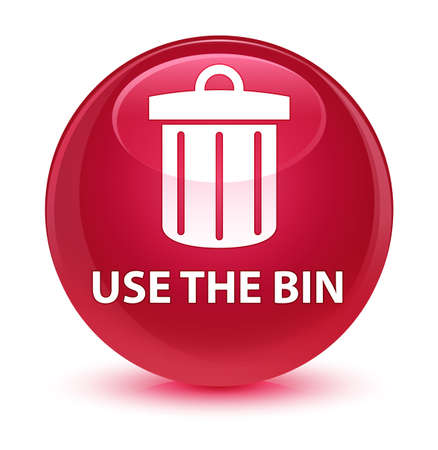 junk: Use the bin (trash icon) isolated on glassy pink round button abstract illustration