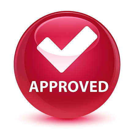 valid: Approved (validate icon) isolated on glassy pink round button abstract illustration Stock Photo