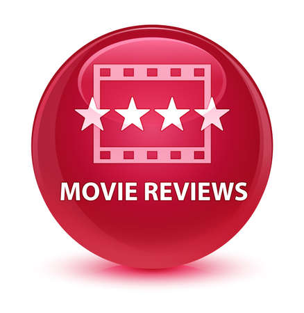 Movie reviews isolated on glassy pink round button abstract illustration