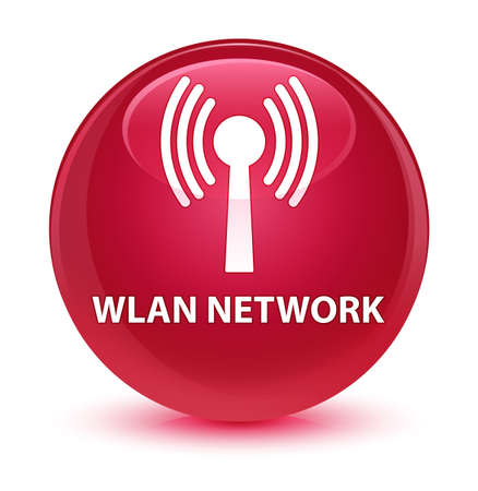 wireless signal: Wlan network isolated on glassy pink round button abstract illustration Stock Photo