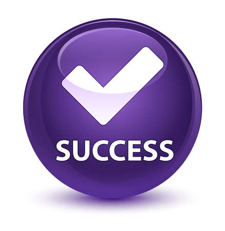 validate: Success (validate icon) isolated on glassy purple round button abstract illustration