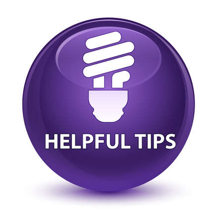 Helpful tips (bulb icon) isolated on glassy purple round button abstract illustration