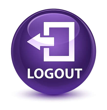 log off: Logout isolated on glassy purple round button abstract illustration