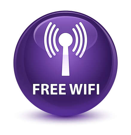 Free wifi (wlan network) isolated on glassy purple round button abstract illustration