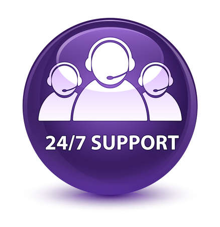customer service representative: 247 Support (customer care team icon) isolated on glassy purple round button abstract illustration