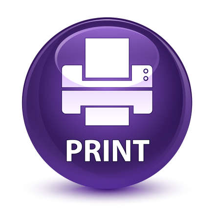 printout: Print (printer icon) isolated on glassy purple round button abstract illustration Stock Photo