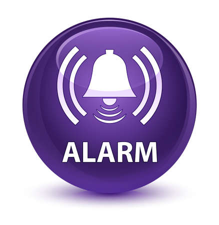 Alarm (bell icon) isolated on glassy purple round button abstract illustration
