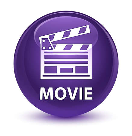 board: Movie (cinema clip icon) isolated on glassy purple round button abstract illustration