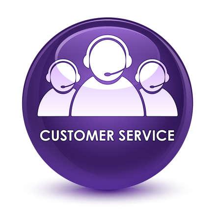 customer service representative: Customer service (team icon) isolated on glassy purple round button abstract illustration Stock Photo