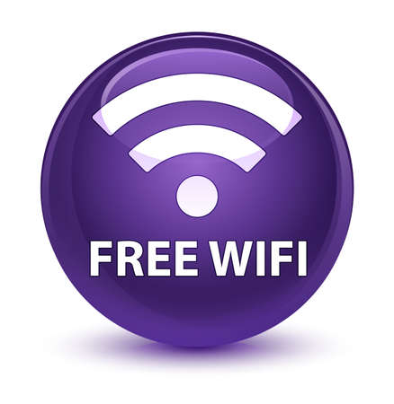wireless signal: Free wifi isolated on glassy purple round button abstract illustration