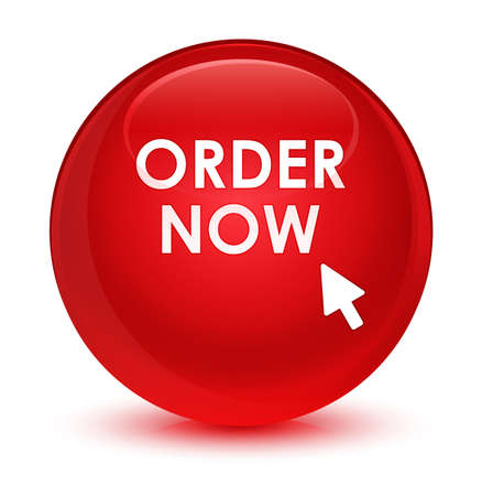 Order now isolated on glassy red round button abstract illustration Stock Photo