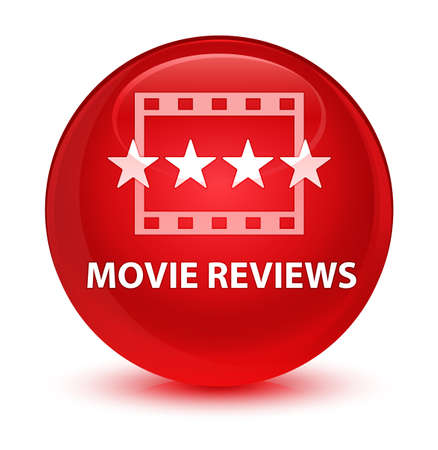 Movie reviews isolated on glassy red round button abstract illustration Stock Photo