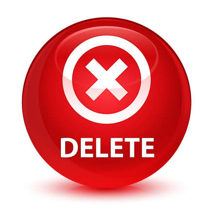 Delete isolated on glassy red round button abstract illustration
