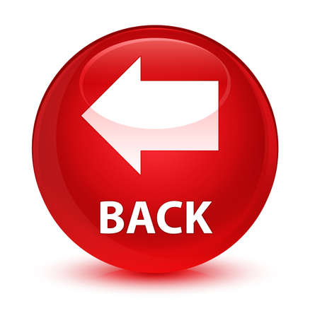 Back isolated on glassy red round button abstract illustration Stock Photo