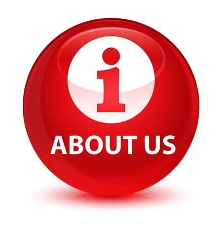about us: About us isolated on glassy red round button abstract illustration