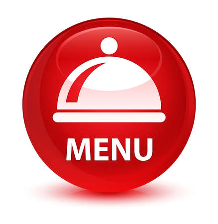 plate: Menu (food dish icon) isolated on glassy red round button abstract illustration