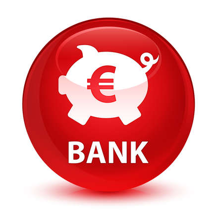 storage: Bank (piggy box euro sign) isolated on glassy red round button abstract illustration Stock Photo