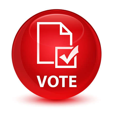 Vote (survey icon) isolated on glassy red round button abstract illustration