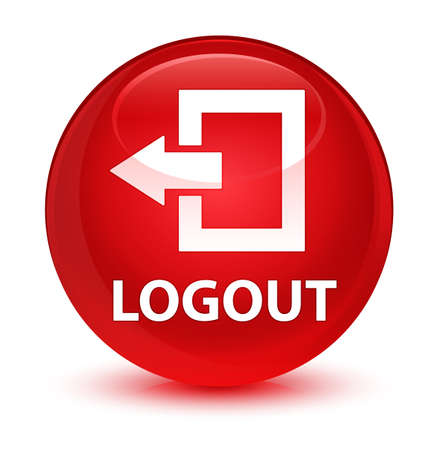 Logout isolated on glassy red round button abstract illustration
