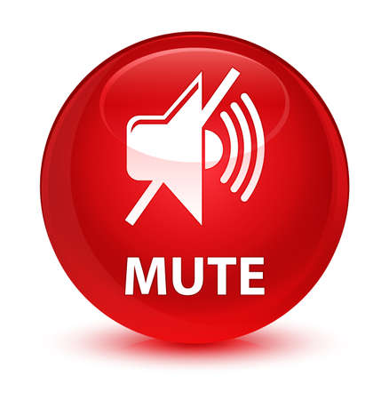 red sound: Mute isolated on glassy red round button abstract illustration