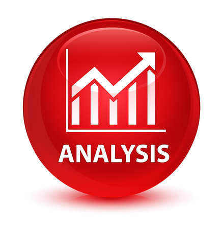 graphic: Analysis (statistics icon) isolated on glassy red round button abstract illustration Stock Photo