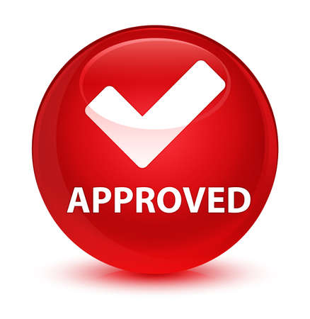 valid: Approved (validate icon) isolated on glassy red round button abstract illustration