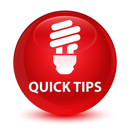 Quick tips (bulb icon) isolated on glassy red round button abstract illustration Stock Photo