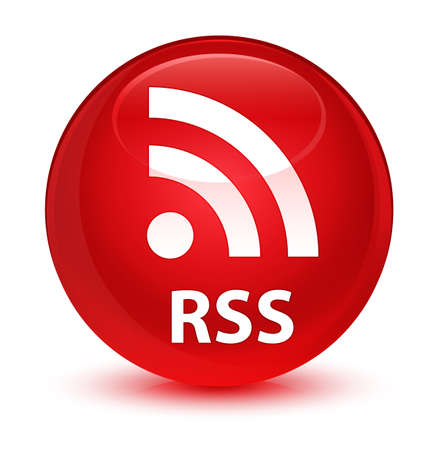 RSS isolated on glassy red round button abstract illustration