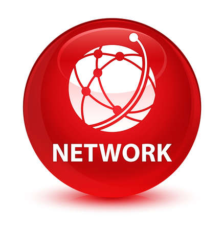 Network (global network icon) isolated on glassy red round button abstract illustration