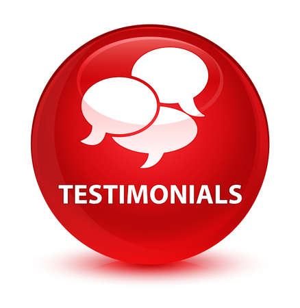 Testimonials (comments icon) isolated on glassy red round button abstract illustration