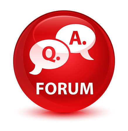 Forum (question answer bubble icon) isolated on glassy red round button abstract illustration