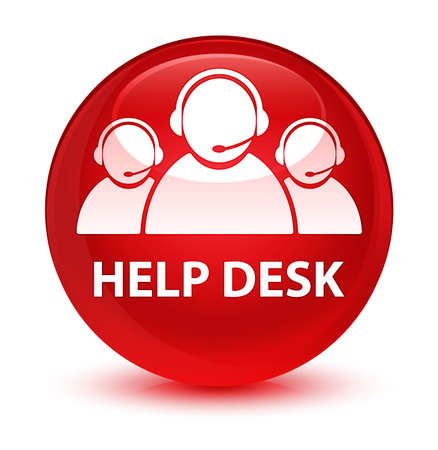 customer service representative: Help desk (customer care team icon) isolated on glassy red round button abstract illustration