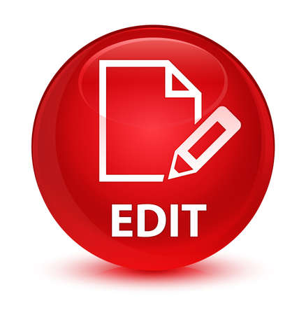 Edit isolated on glassy red round button abstract illustration Stock Photo