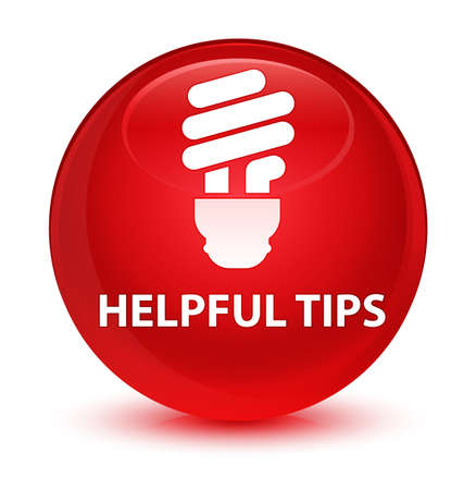 Helpful tips (bulb icon) isolated on glassy red round button abstract illustration Stock Photo