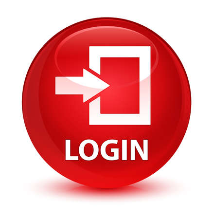Login isolated on glassy red round button abstract illustration