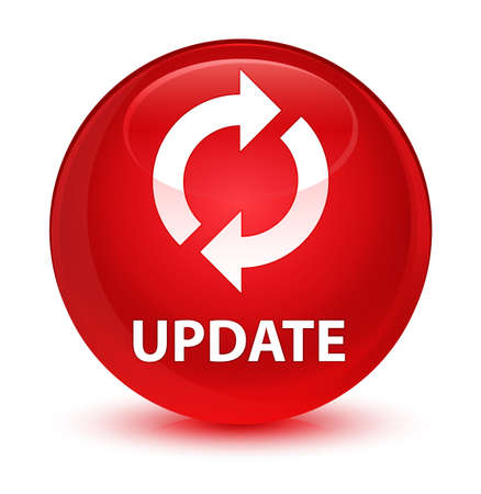 upgrade: Update isolated on glassy red round button abstract illustration Stock Photo