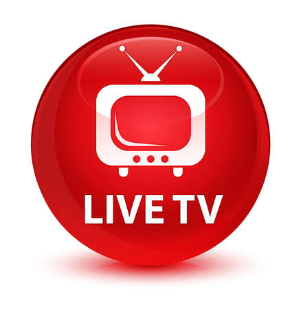 antennas: Live tv isolated on glassy red round button abstract illustration