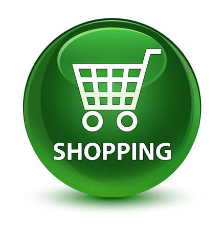 Shopping isolated on glassy soft green round button abstract illustration Stock Photo