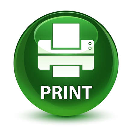 printout: Print (printer icon) isolated on glassy soft green round button abstract illustration