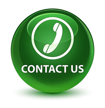 telephone: Contact us (phone icon) isolated on glassy soft green round button abstract illustration