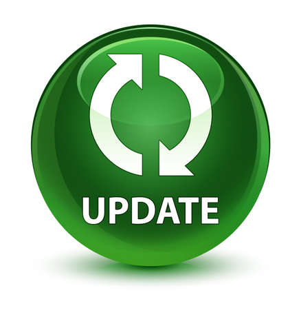 upgrade: Update isolated on glassy soft green round button abstract illustration Stock Photo